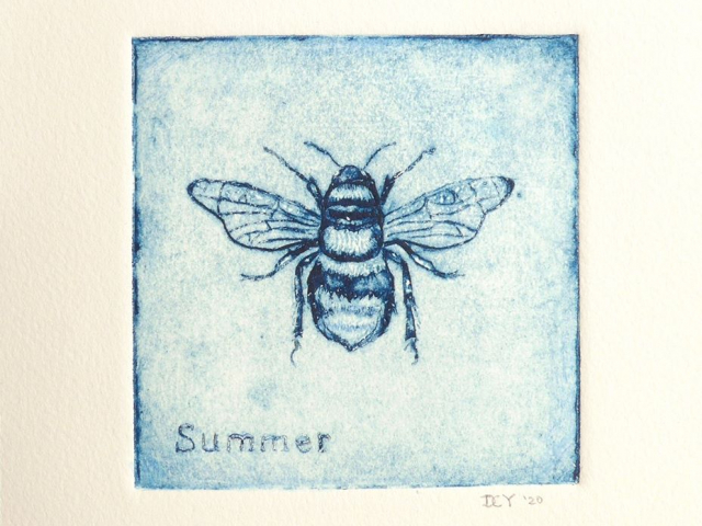 """A blue print of a bee from above, detailed and up close, with the word """"Summer"""" in the bottom left cornet"""