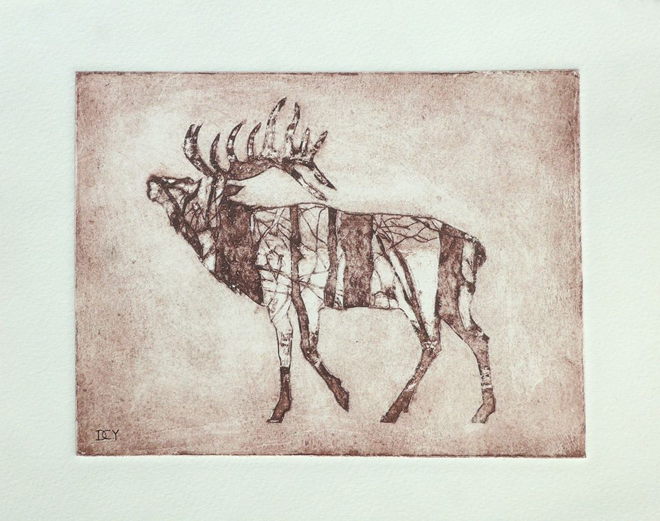 A red/brown tone print of a stag from the side. The stag is looking upwards, the within the outline of the stag is the impression of a forest