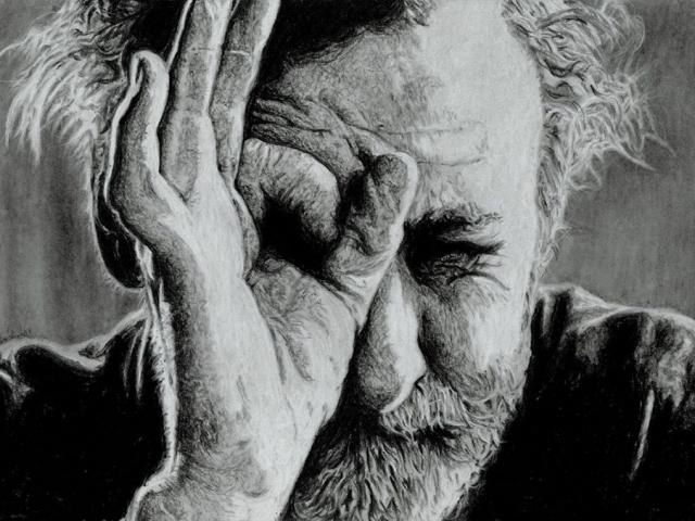 Portrait of Spike Milligan in black and white by artist Helen Fox