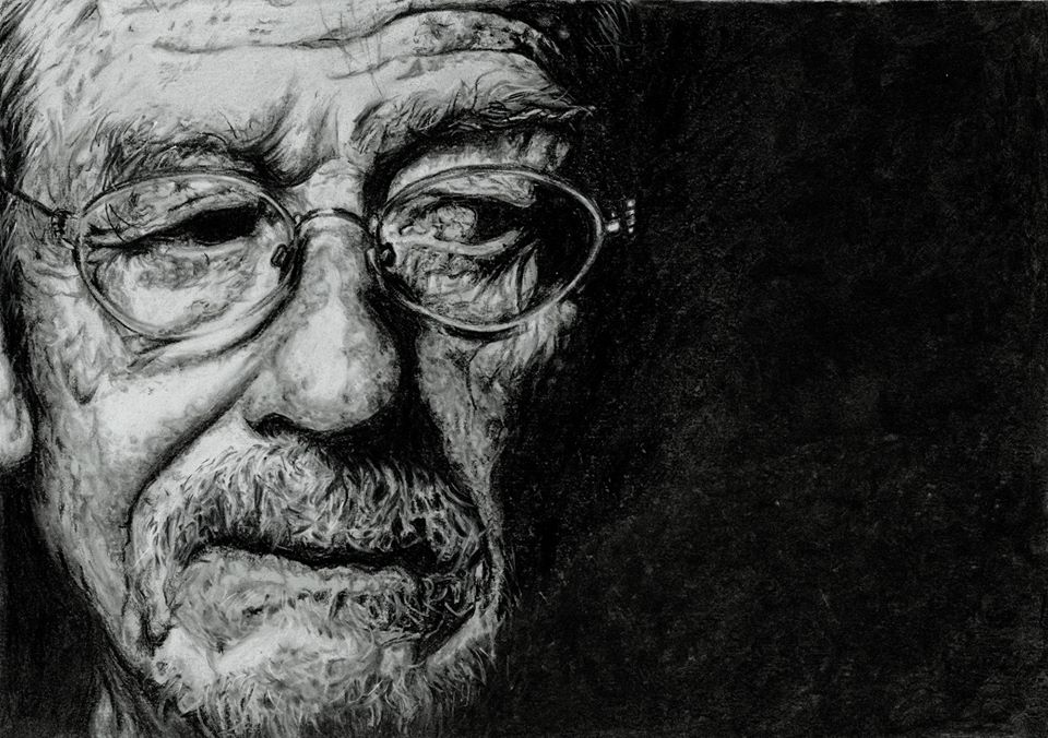 No More portrait of John Hurt in black and white by artist Helen Fox