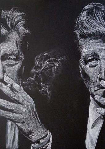 a black and white portrait of David Lynch, smoking, with his face split. By artist Helen Fox